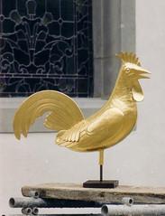 Coq en cuivre doré à la feuille de Chardonne VD