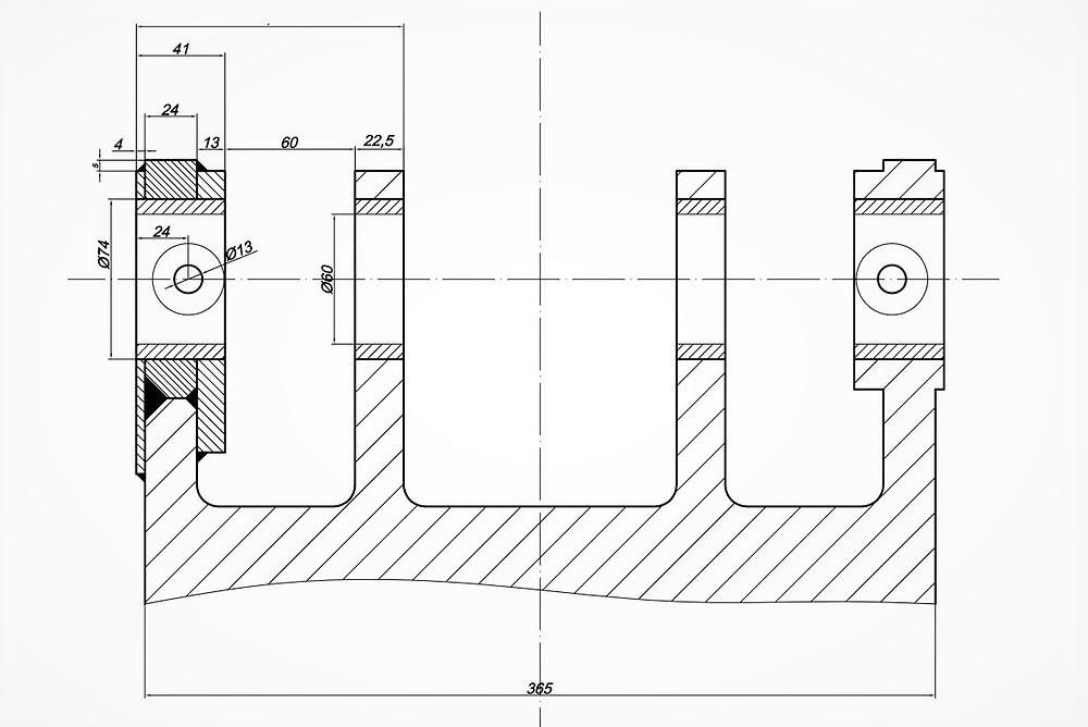Ремонтный чертёж поворотной каретки экскаватора-погрузчика