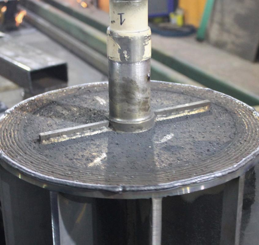 Торец фланца ротора после наплавки