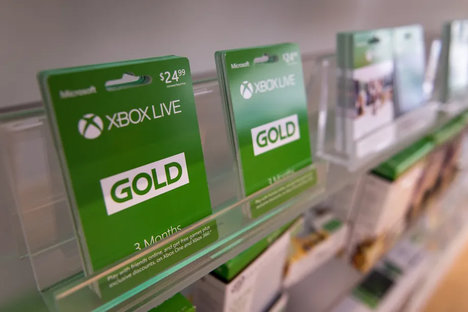 Stack of Xbox Live Gold Cards on display in store
