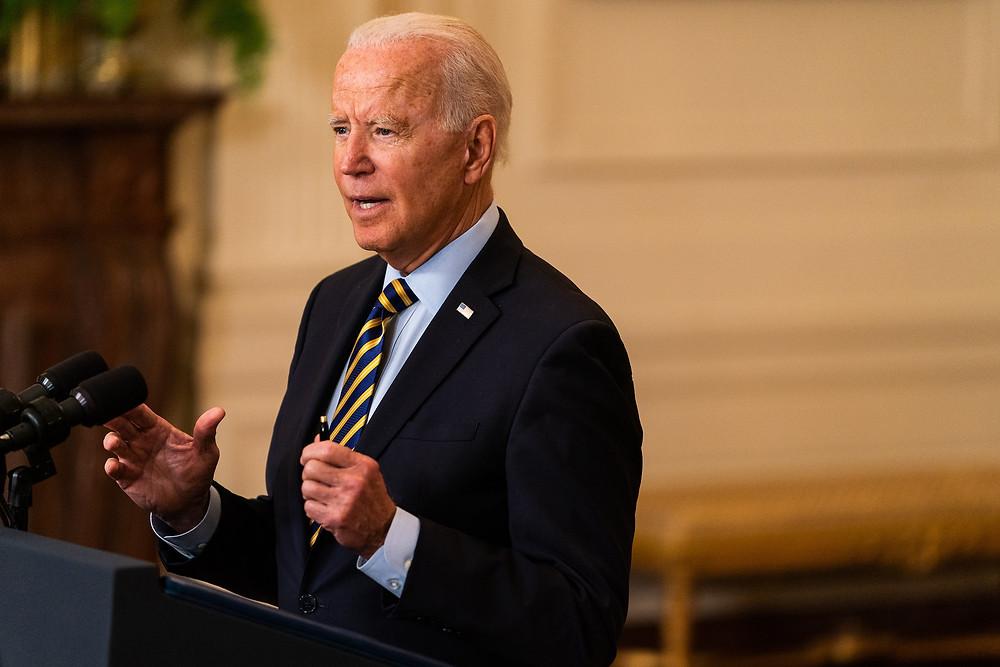Joe Biden speaking at the White House on July 8, 2020.