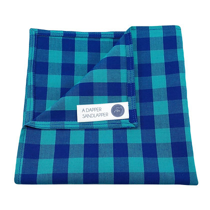 Teal and Blue Gingham Pocket Square