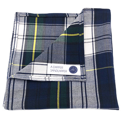 Navy Tartan Plaid Pocket Square