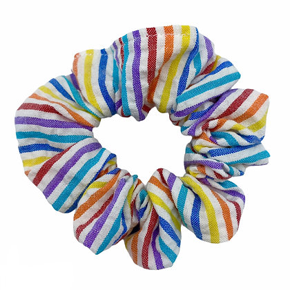 Rainbow Seersucker Scrunchie