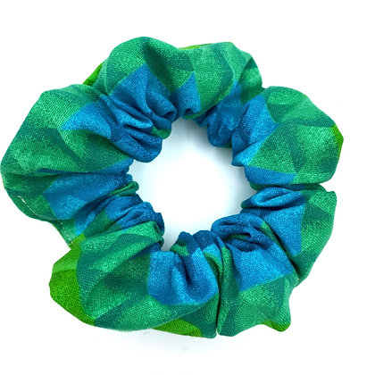 Green and Blue Triangles Scrunchie