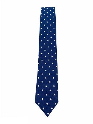Wholesale Skinny Navy and White Polka Dot Necktie