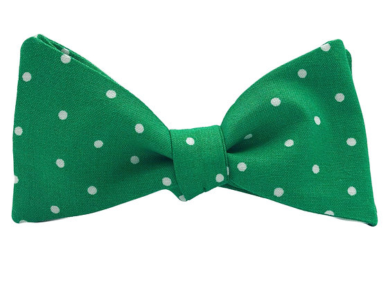 Green and White Polka Dots