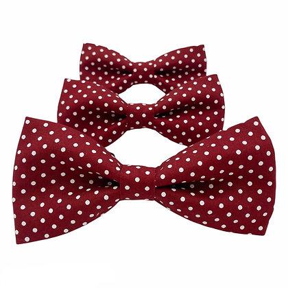 Garnet and White Polka Dot Dog Bow Tie