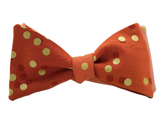 Orange Ombré with Gold Polka Dots