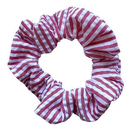 Red Seersucker Scrunchie