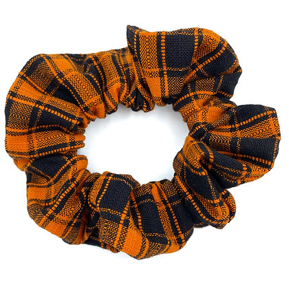 Orange and Black Plaid Scrunchies