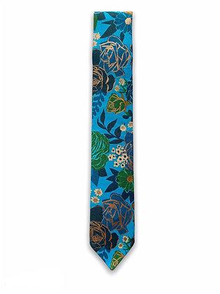 Skinny Metallic Flowers Necktie