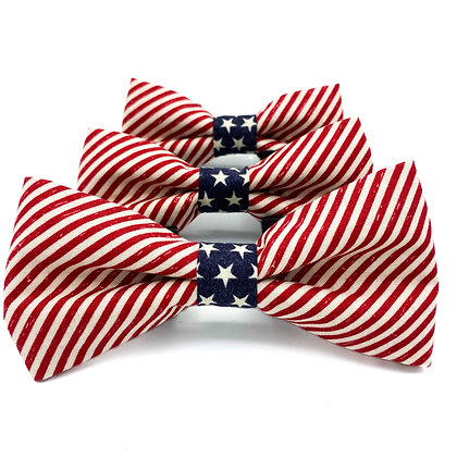 Stripes and Stars Dog Bow Tie