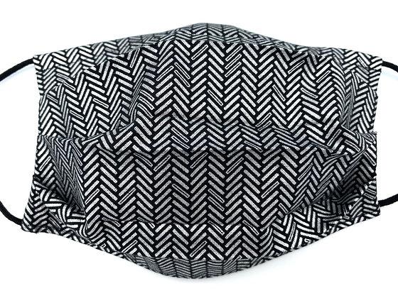 Black and Silver Herringbone Mask