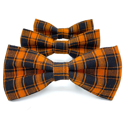 Orange and Black Plaid Dog Bow Tie