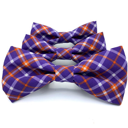 Clemson Plaid Dog Bow Tie