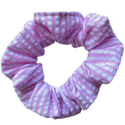 Pink Seersucker Scrunchie