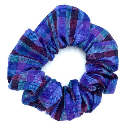 Blue and Purple Check Scrunchie
