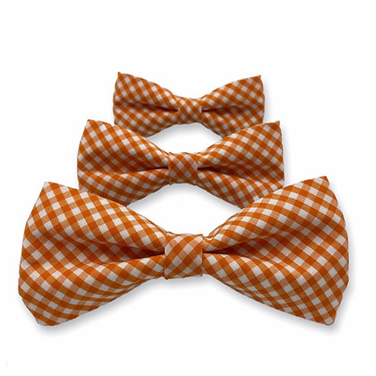 Orange Gingham Dog Bow Tie