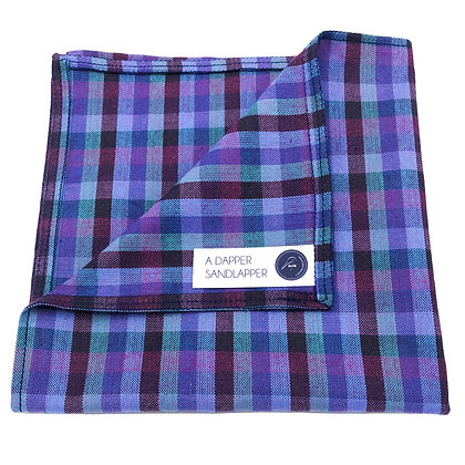 Blue and Purple Check Pocket Square