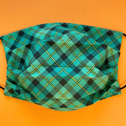 Green and Black Plaid Mask