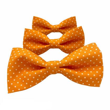 Orange and White Polka Dot Dog Bow Tie