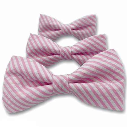 Pink Seersucker Dog Bow Tie