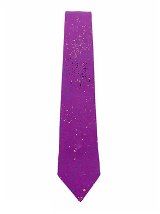 Skinny Purple Splatter Necktie