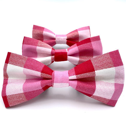 Pink and Red Gingham Bow Tie