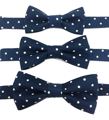 Pre-Tied Navy and White Polka Dots