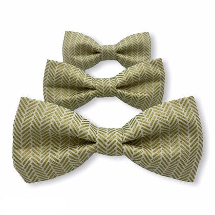 Gold Herringbone Dog Bow Tie