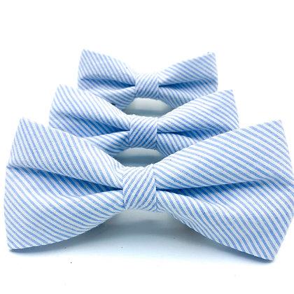Blue Seersucker Dog Bow Tie