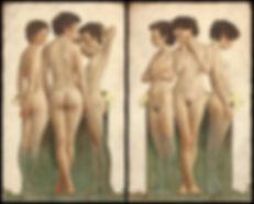 Jeunes filles nues peintes à l'huile sur toile par louis Treserras