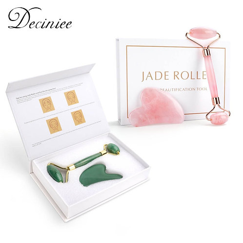Natural Rose Quarts / Jade Stone Facial Massage Roller with Gua Sha Board