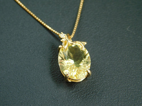 ☆神秘的な輝きを胸元に☆レモンクォーツ♡可愛いピアンタモチーフK18YGゴールドネックレス☆プラチナ対応承ります