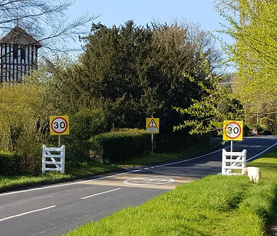 New traffic gates approaching the church from Roman Way