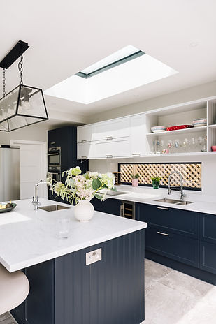 Modern navy shaker style kitchen