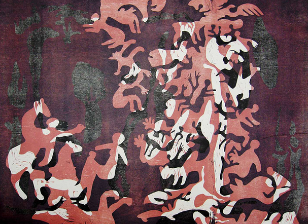 06_Lebensbaum, 1999, Farbholzschnitt auf
