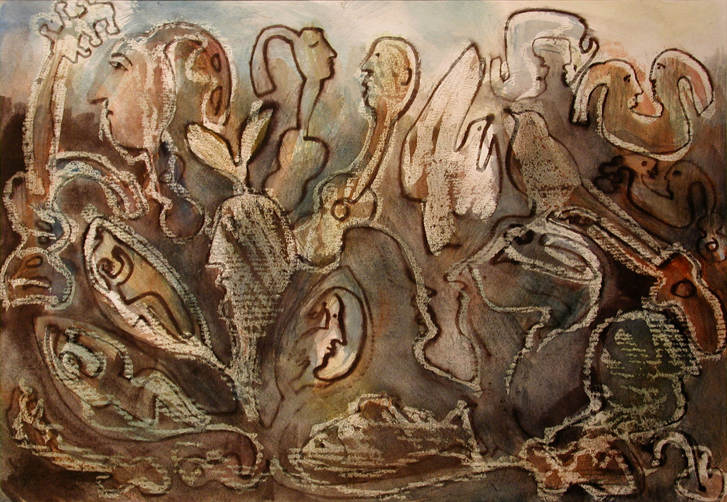 02_Guitar People, 2001, Aquarell u. Tint
