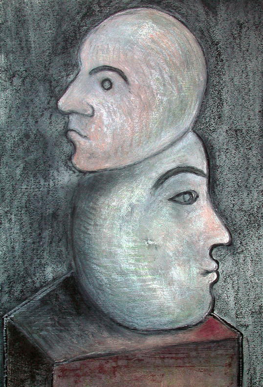 07_Doppelkopf I, 2006, Aquarell, 43 x 30