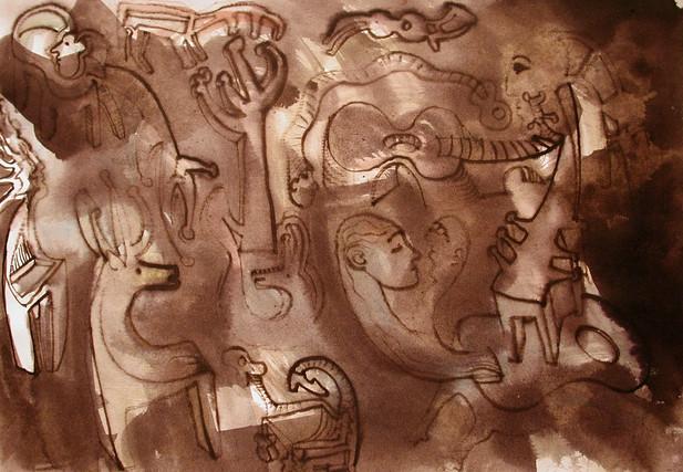 07_Guitar People, 2001, Aquarell u. Tint