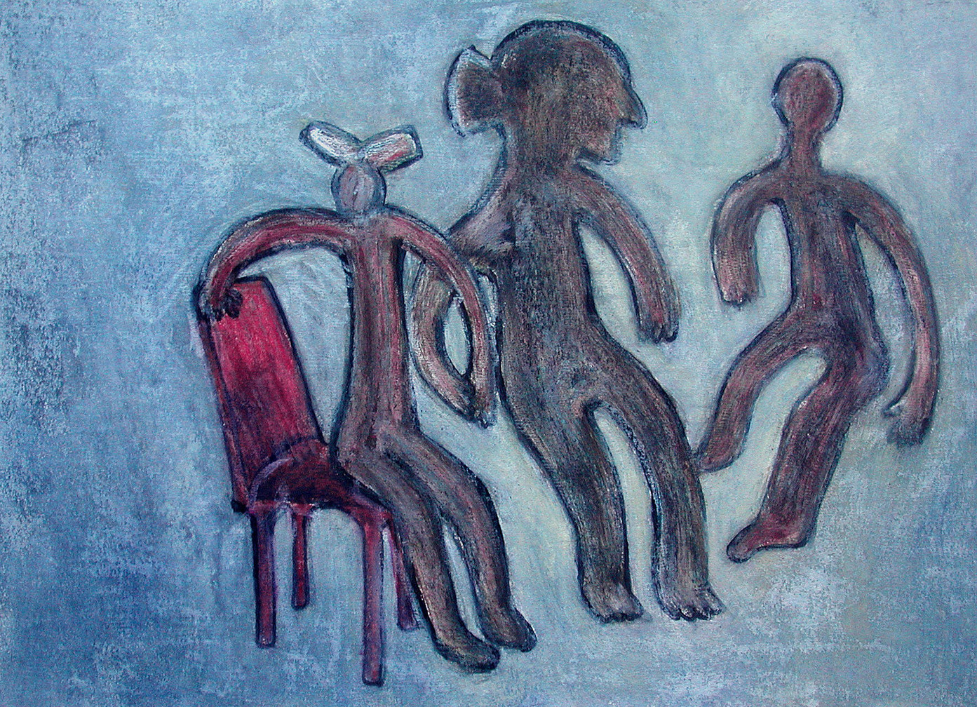 02_Gruppe mit rotem Stuhl, 2006, Aquarel