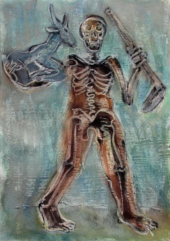 30_Tod mit Klumpfuß und Ziege, 2006, Aqu