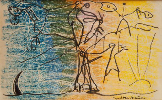 07_Weltenbaum, 1985, Bleistift, Wachskre