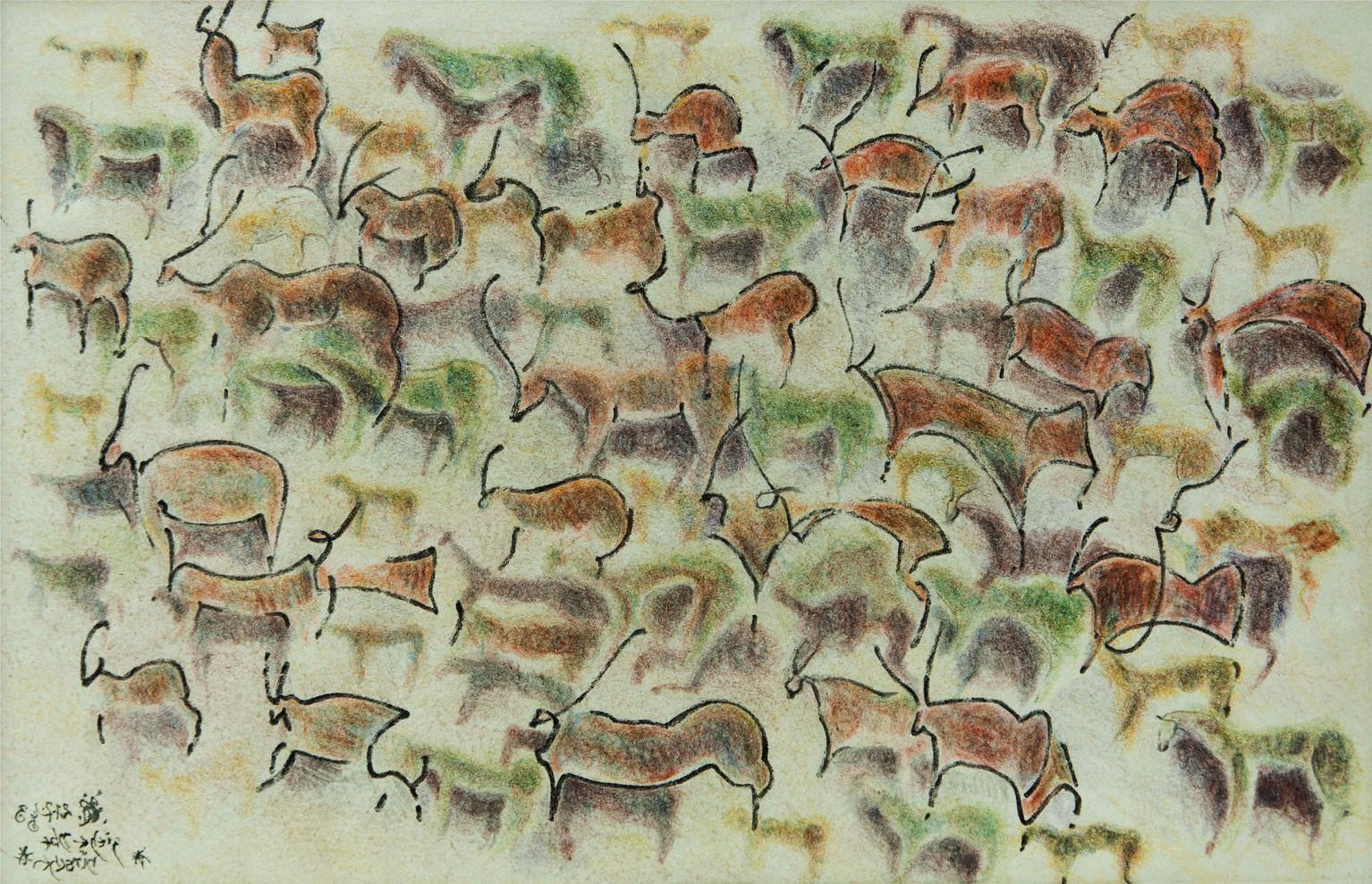 02_Ziehende Hirsche, 1983, Tinte u. Bunt