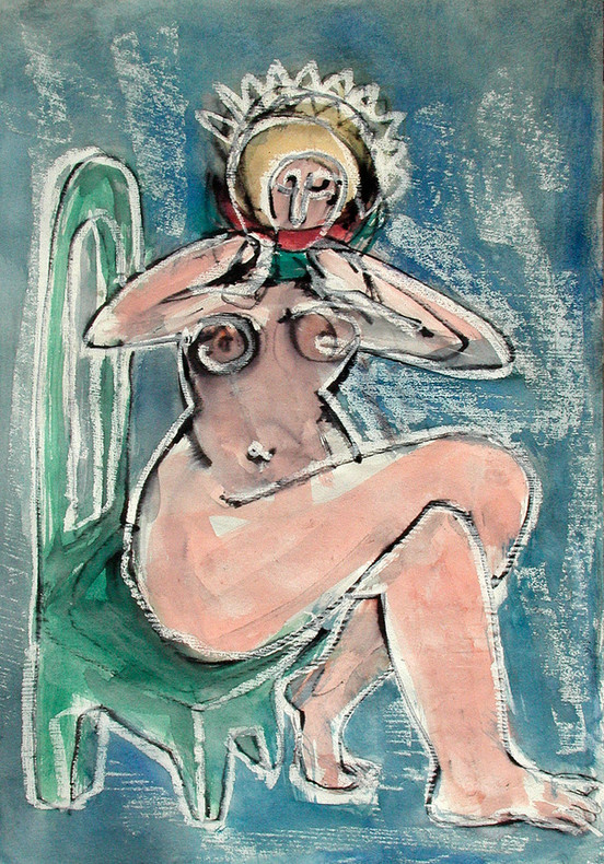 13_Melonenesserin, 2006, Aquarell, 43 x