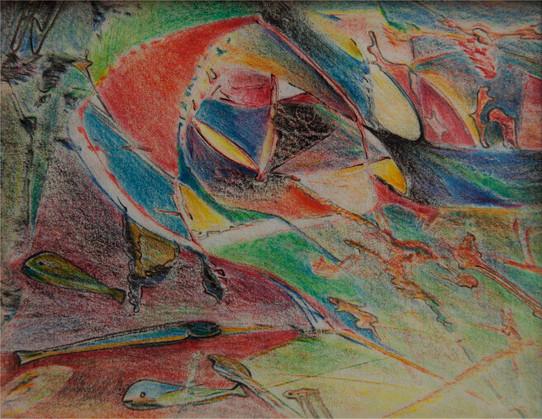 06_Aquis submersus, 1990, Buntstift, 10