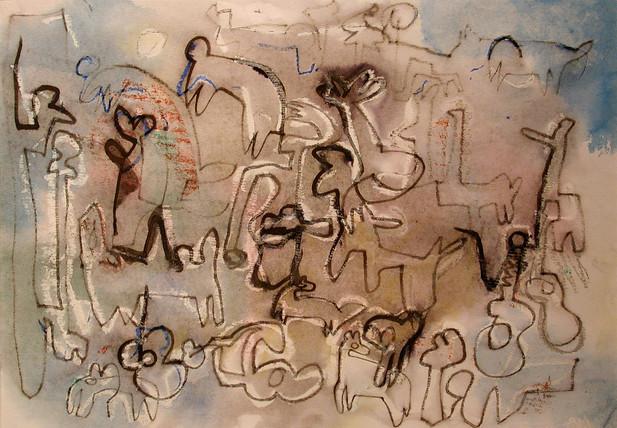 05_Guitar People, 2001, Aquarell u. Tint