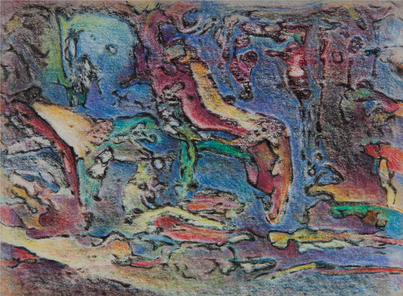 05_Mainacht, 1990, Buntstift, 15,5 x 17c