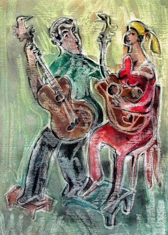04_Guitar People, 2006, Aquarell, 43 x 3